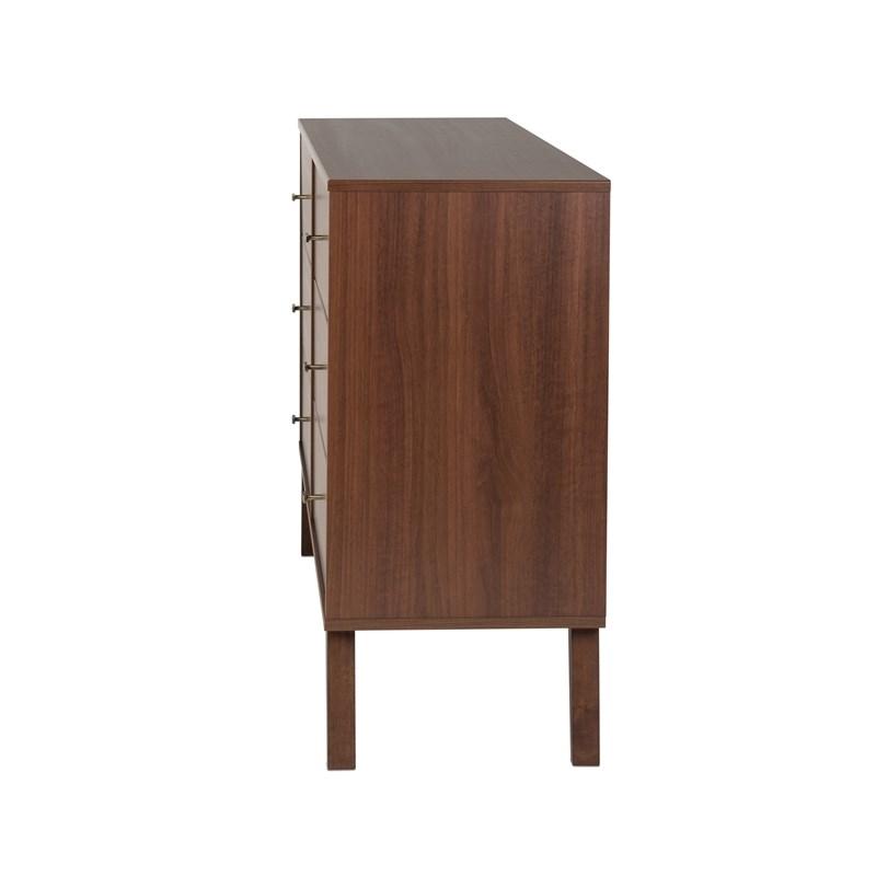 "Prepac Milo 6 Drawer Mid Century Modern Dresser In Cherry Pertaining To Prepac Milo Mid Century Modern 56"" Tv Console Stands (View 17 of 20)"