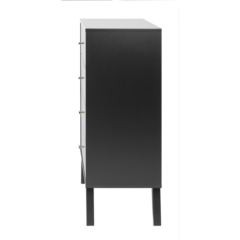 """Prepac Milo Mid Century Modern 4 Drawer Chest In Black Intended For Prepac Milo Mid Century Modern 56"""" Tv Console Stands (View 12 of 20)"""