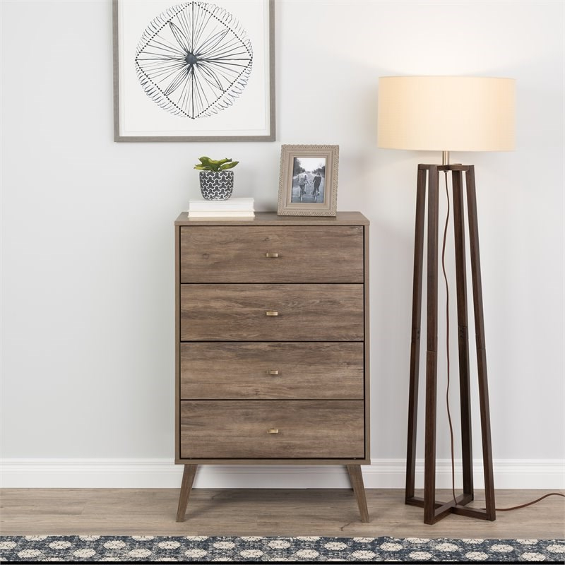 """Prepac Milo Mid Century Modern 4 Drawer Chest In Drifted Throughout Prepac Milo Mid Century Modern 56"""" Tv Console Stands (View 10 of 20)"""