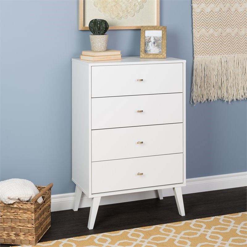 """Prepac Milo Mid Century Modern 4 Drawer Chest In White With Prepac Milo Mid Century Modern 56"""" Tv Console Stands (View 2 of 20)"""