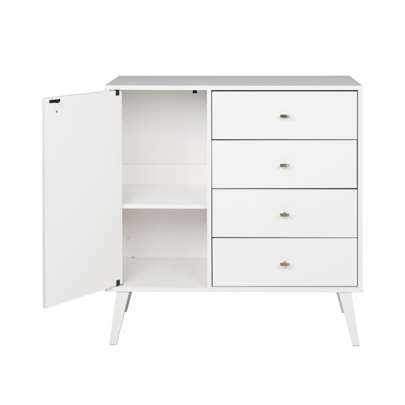 """Prepac Milo Mid Century Modern 4 Drawer Chest With Door In In Prepac Milo Mid Century Modern 56"""" Tv Console Stands (View 4 of 20)"""