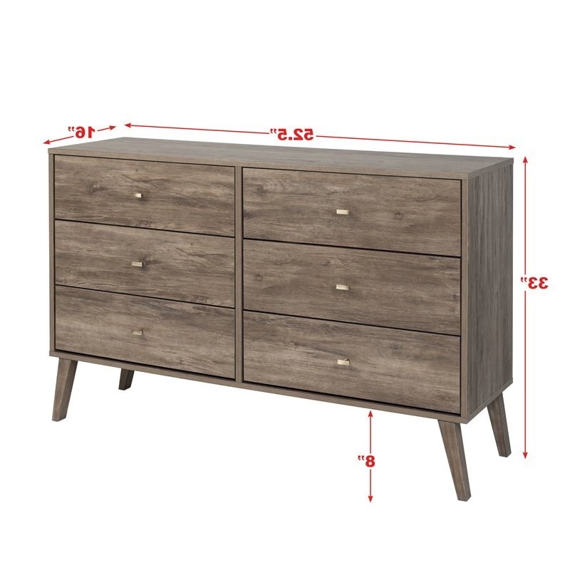 """Prepac Milo Mid Century Modern 6 Drawer Double Dresser In Regarding Prepac Milo Mid Century Modern 56"""" Tv Console Stands (View 8 of 20)"""