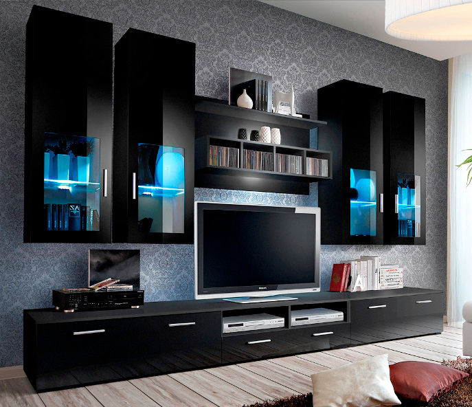 Presto 5 – Black Modern Entertainment Center For 65 Inch For 57'' Tv Stands With Led Lights Modern Entertainment Center (View 13 of 20)
