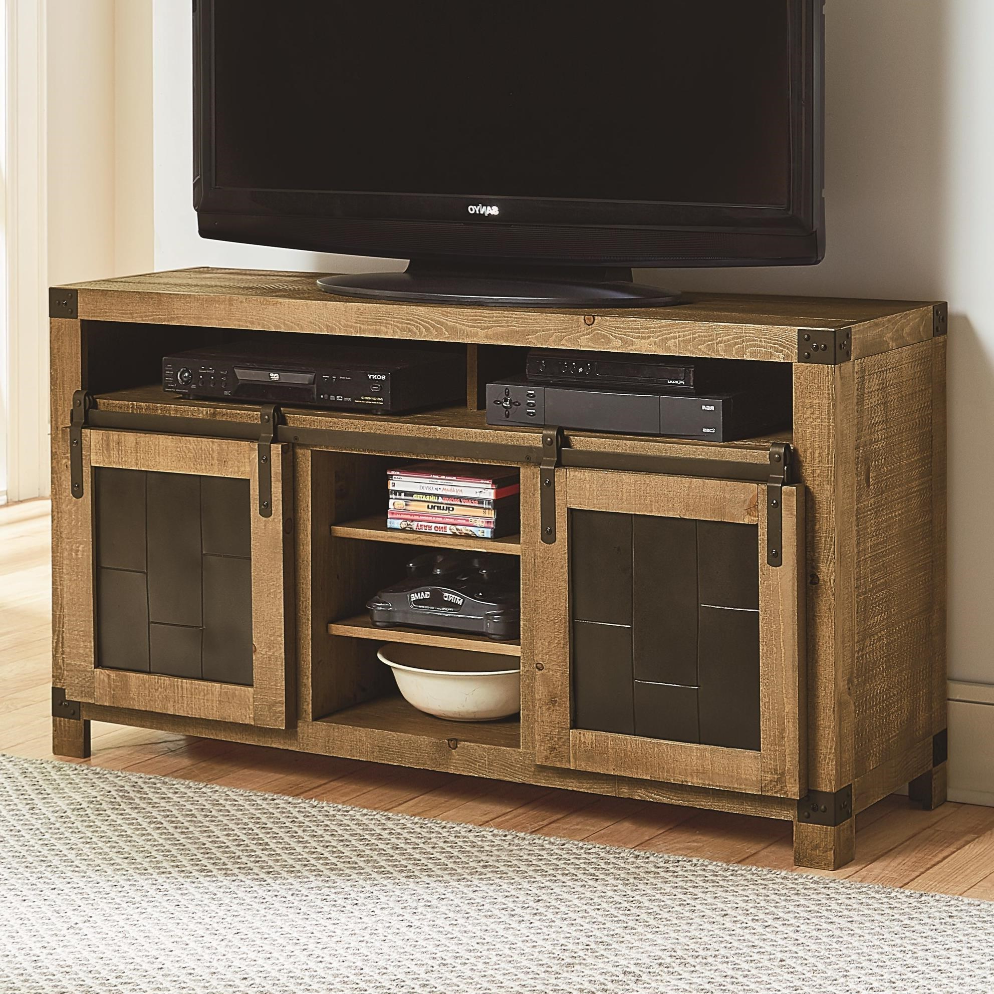 Progressive Furniture Mojo Rustic 54 Inch Console With Regarding Tv Stands With Sliding Barn Door Console In Rustic Oak (View 2 of 20)
