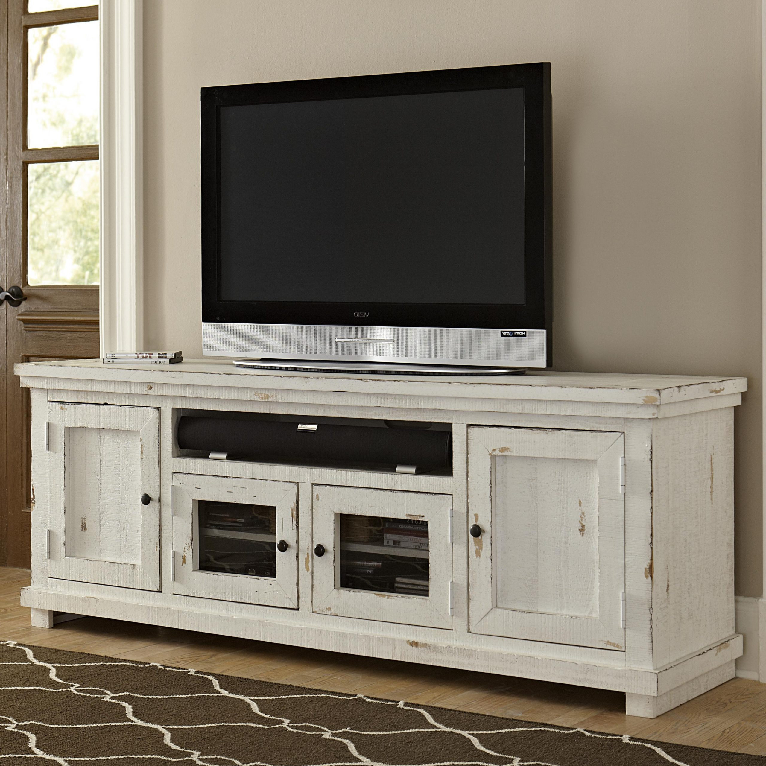 """Progressive Furniture Willow Large 74"""" Distressed Pine Inside Rustic Grey Tv Stand Media Console Stands For Living Room Bedroom (View 8 of 20)"""