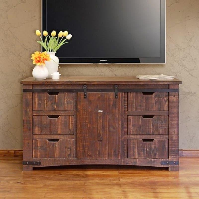 Pueblo Barn Door Tv Stand Within Barn Door Wood Tv Stands (View 10 of 20)