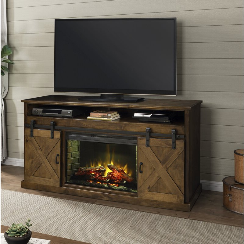 """Pullman Tv Stand For Tvs Up To 65"""" With Electric Fireplace With Regard To Electric Fireplace Tv Stands With Shelf (View 7 of 20)"""