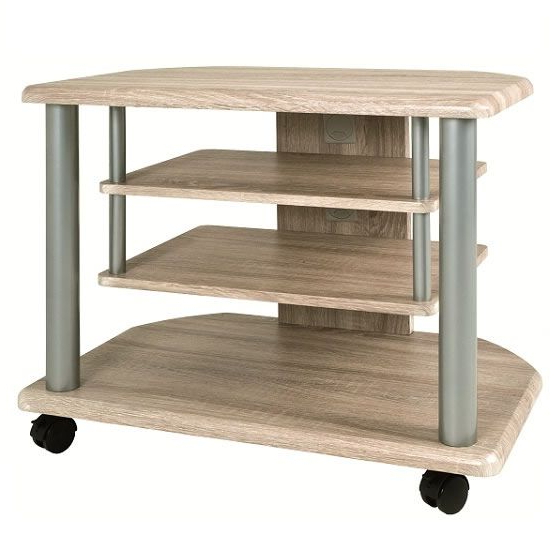 Rafi Light Oak Tv Stand With Wheels Castors | Wooden Tv With Modern Black Tv Stands On Wheels (View 16 of 20)