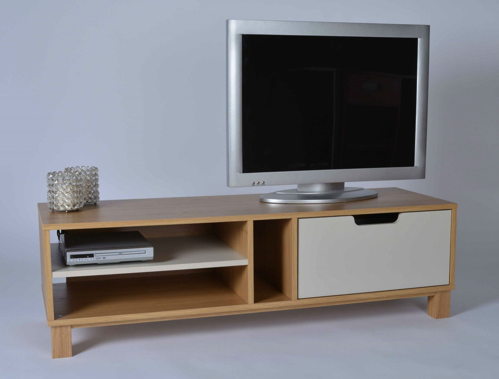 Retro Tv Stand Wooden White Drawer Shelves Storage Unit Intended For Owen Retro Tv Unit Stands (View 1 of 20)