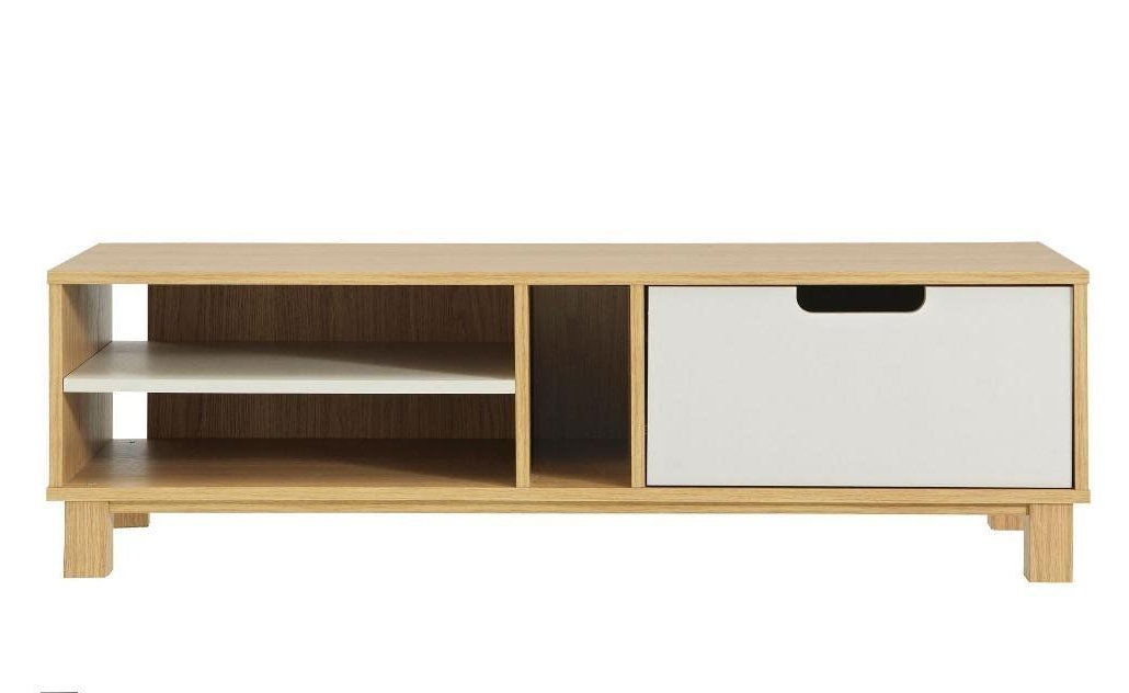 Retro Tv Unit Plasma Screen Tv Cabinet White And Oak In Claudia Brass Effect Wide Tv Stands (View 5 of 20)