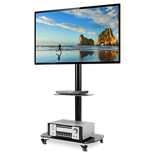 Rfiver Black Tv Cart Mobile Tv Stand With Swivel Mount For Rfiver Modern Tv Stands Rolling Wheels Black Steel Pole (View 2 of 20)
