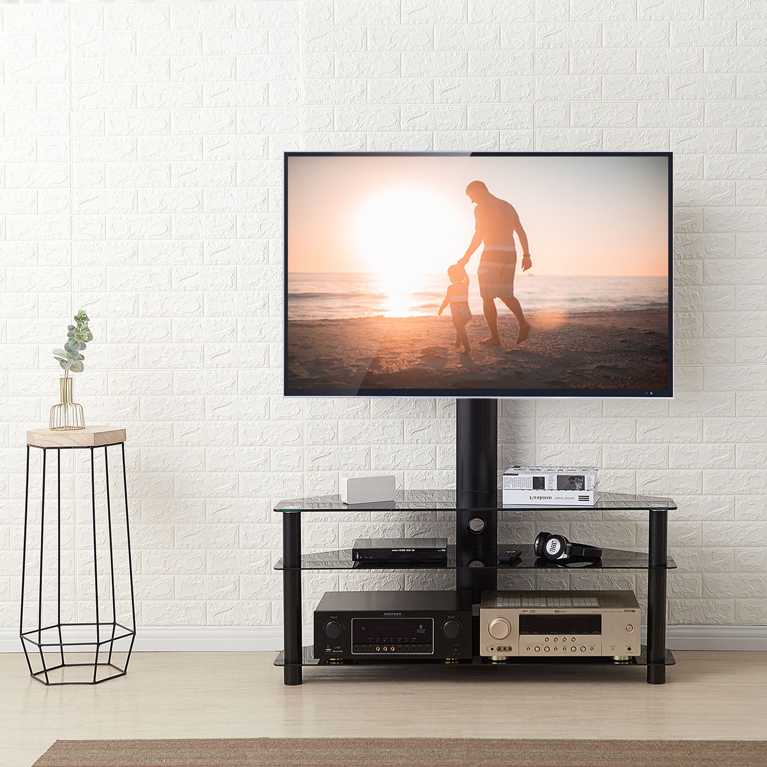 """Rfiver Corner Floor Tv Stand 37"""" 70"""" Tvs With Swivel Mount With Contemporary Black Tv Stands Corner Glass Shelf (View 6 of 20)"""