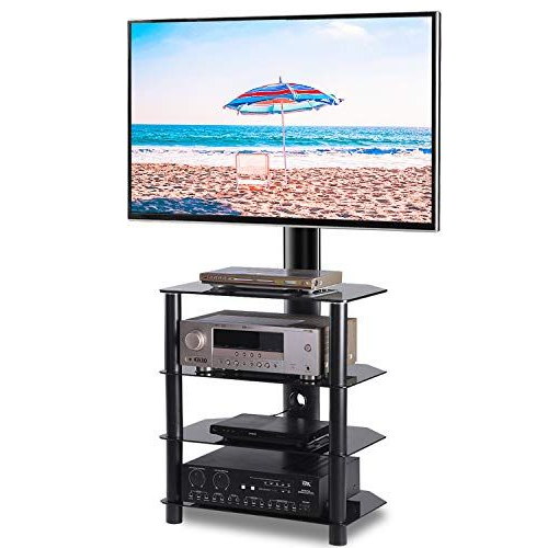 Rfiver Floor Corner 4 Shelf Tv Stand Base With Swivel Pertaining To Floor Tv Stands With Swivel Mount And Tempered Glass Shelves For Storage (View 12 of 20)