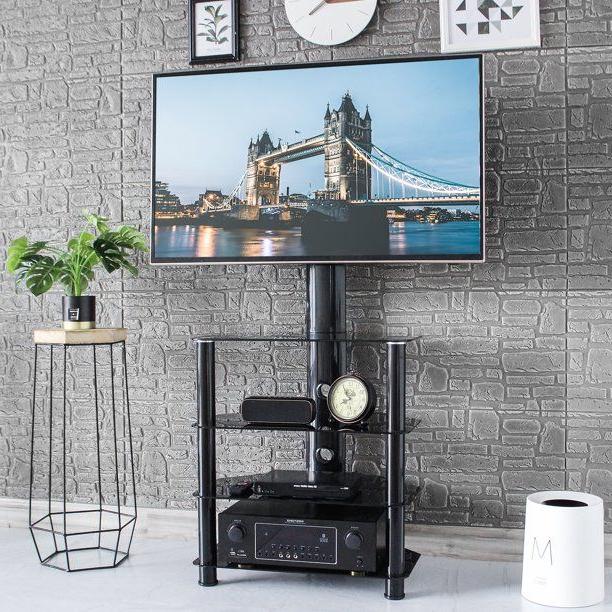 Rfiver Floor Corner Tv Stand With Swivel Mount 4 Tiers In Swivel Floor Tv Stands Height Adjustable (View 14 of 20)