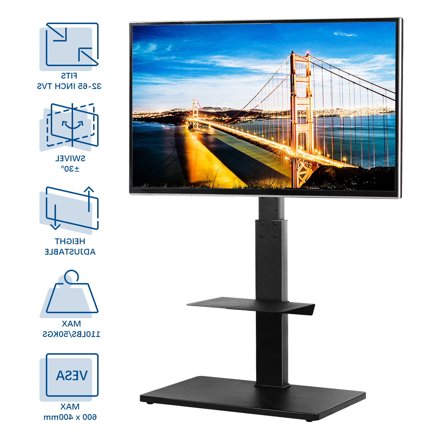 """Rfiver Floor Tv Stand For Tvs Up To 64""""with Swivel Mount For Modern Floor Tv Stands With Swivel Metal Mount (View 3 of 20)"""