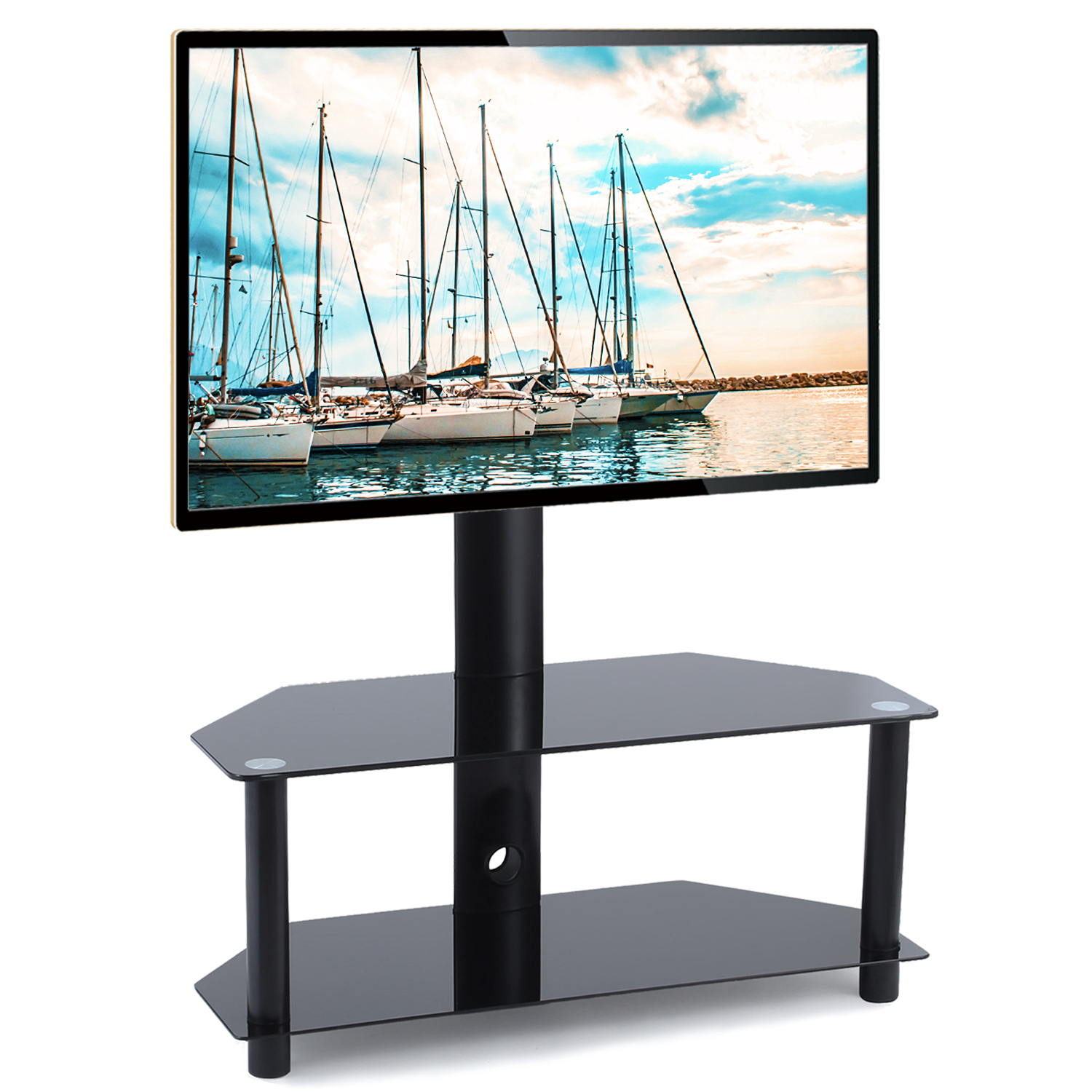 Rfiver Glass Floor Tv Stand With Swivel Mount Height With Swivel Floor Tv Stands Height Adjustable (View 3 of 20)