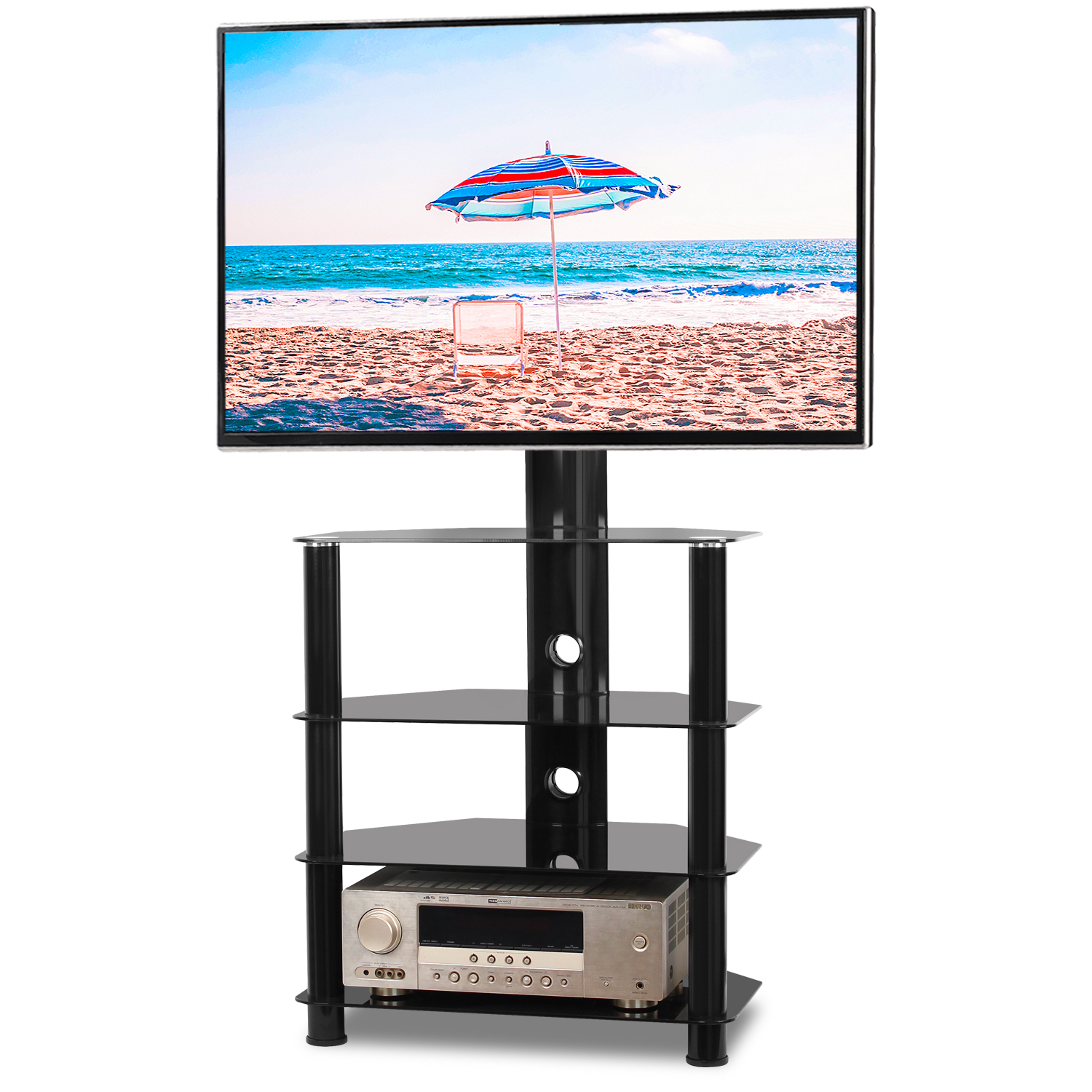 """Rfiver Modern 4 Shelf Floor Corner Tv Stand For 32"""" 55 For Baba Tv Stands For Tvs Up To 55"""" (View 11 of 20)"""