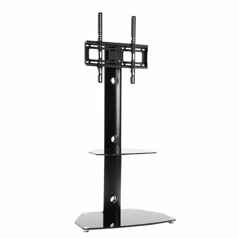 Rfiver Tavr Furniture Modern Black Swivel Mount Floor Tv For Floor Tv Stands With Swivel Mount And Tempered Glass Shelves For Storage (View 10 of 20)
