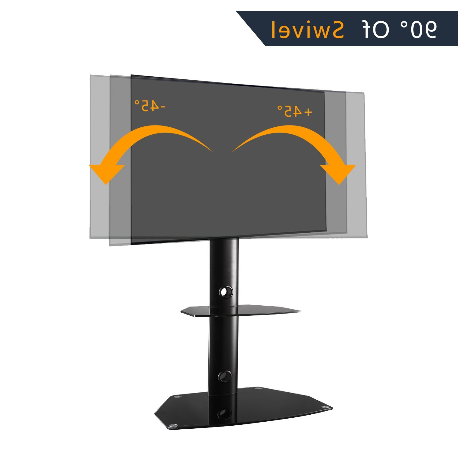 Rfiver Tavr Furniture Modern Black Swivel Mount Floor Tv With Floor Tv Stands With Swivel Mount And Tempered Glass Shelves For Storage (View 7 of 20)