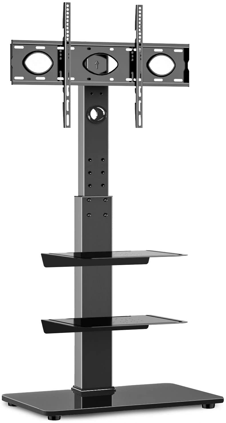 """Rfiver Universal Floor Tv Stand With Swivel Mount And With Whalen Furniture Black Tv Stands For 65"""" Flat Panel Tvs With Tempered Glass Shelves (View 3 of 20)"""