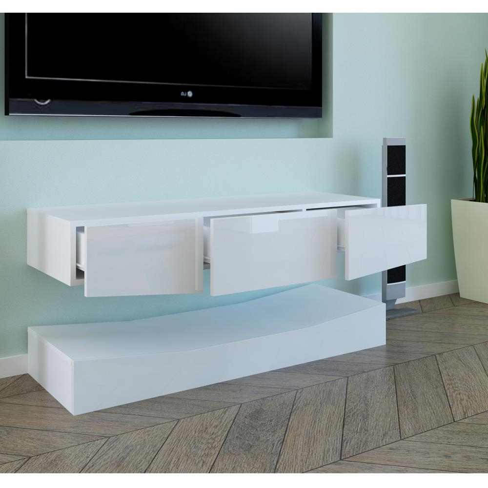 Rgb Led Light High Gloss Floating Tv Cabinet Stand Inside Ktaxon Modern High Gloss Tv Stands With Led Drawer And Shelves (View 18 of 20)