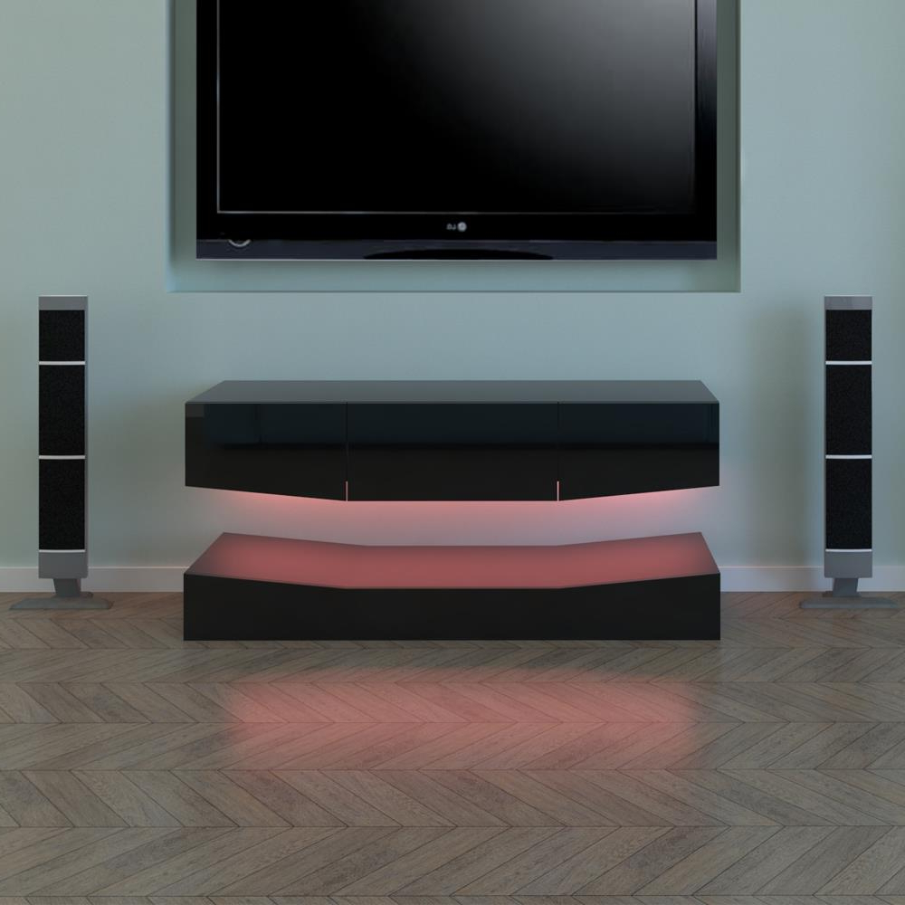 Rgb Led Light High Gloss Floating Tv Cabinet Stand Regarding Ktaxon Modern High Gloss Tv Stands With Led Drawer And Shelves (View 15 of 20)
