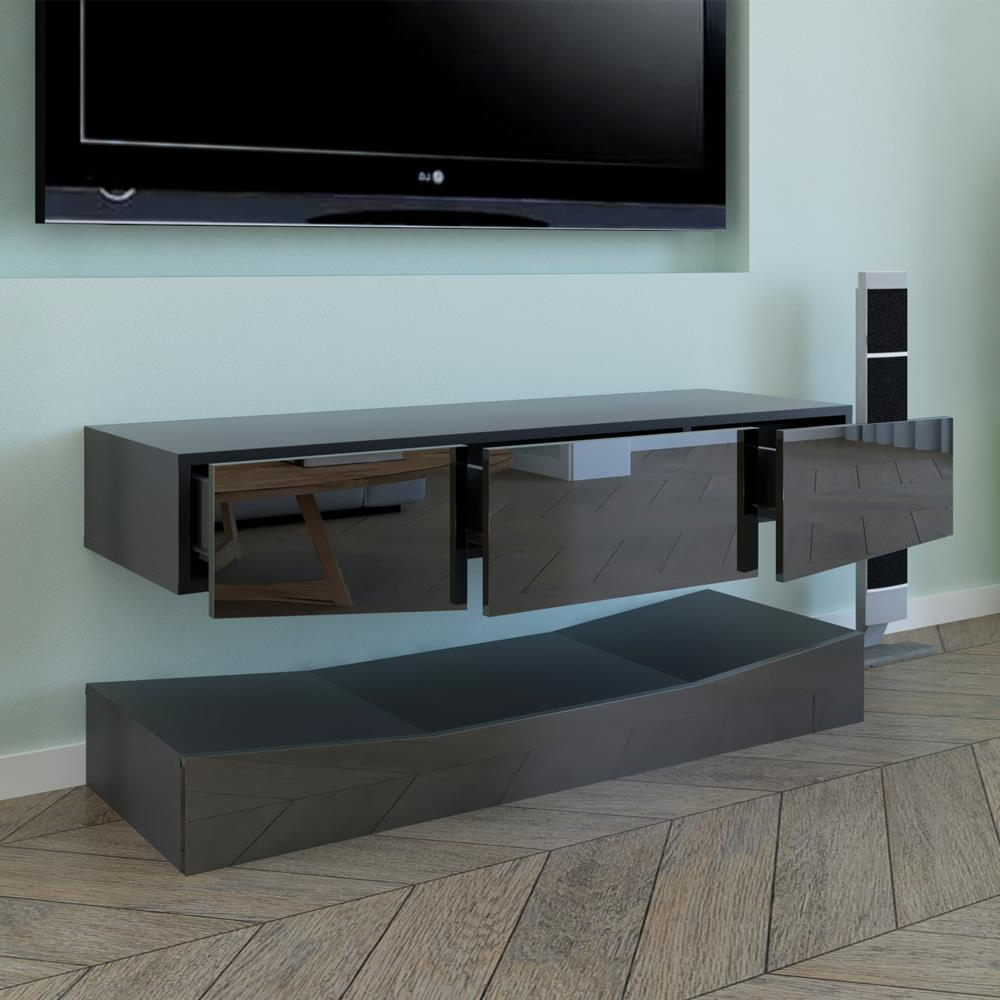 Rgb Led Light High Gloss Floating Tv Cabinet Stand With 57'' Tv Stands With Led Lights Modern Entertainment Center (View 15 of 20)
