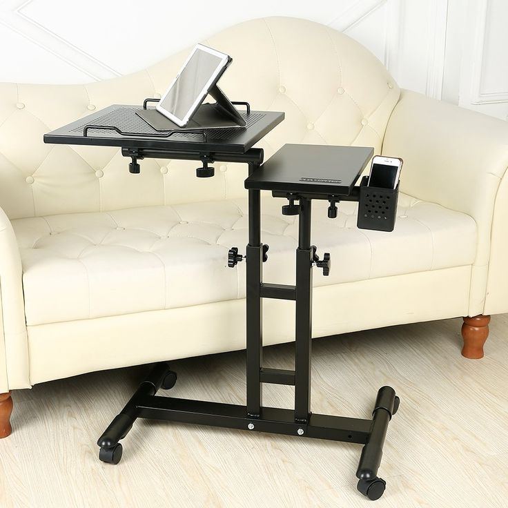 Rolling Mobile Laptop Desk Table | Computer Table, Bed Regarding Modern Mobile Rolling Tv Stands With Metal Shelf Black Finish (View 14 of 20)