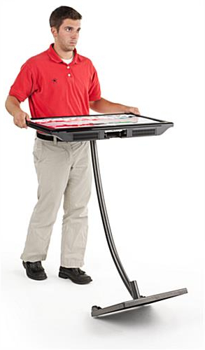 Rolling Tv Mount   Curved Stand For Lcd Screens Regarding Rfiver Modern Tv Stands Rolling Wheels Black Steel Pole (View 17 of 20)