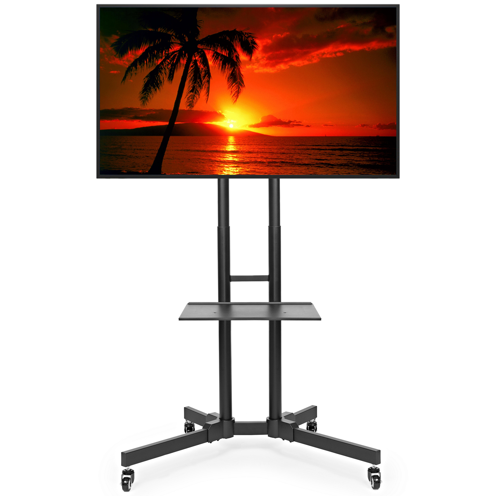 Rolling Tv Stand Cart Mount For Oled, Led, Flat Screen Intended For Easyfashion Adjustable Rolling Tv Stands For Flat Panel Tvs (View 12 of 20)