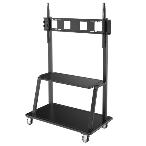 Rolling Tv Stands – These Tv Stands With Lockable Cabinets Throughout Rfiver Modern Tv Stands Rolling Wheels Black Steel Pole (View 9 of 20)