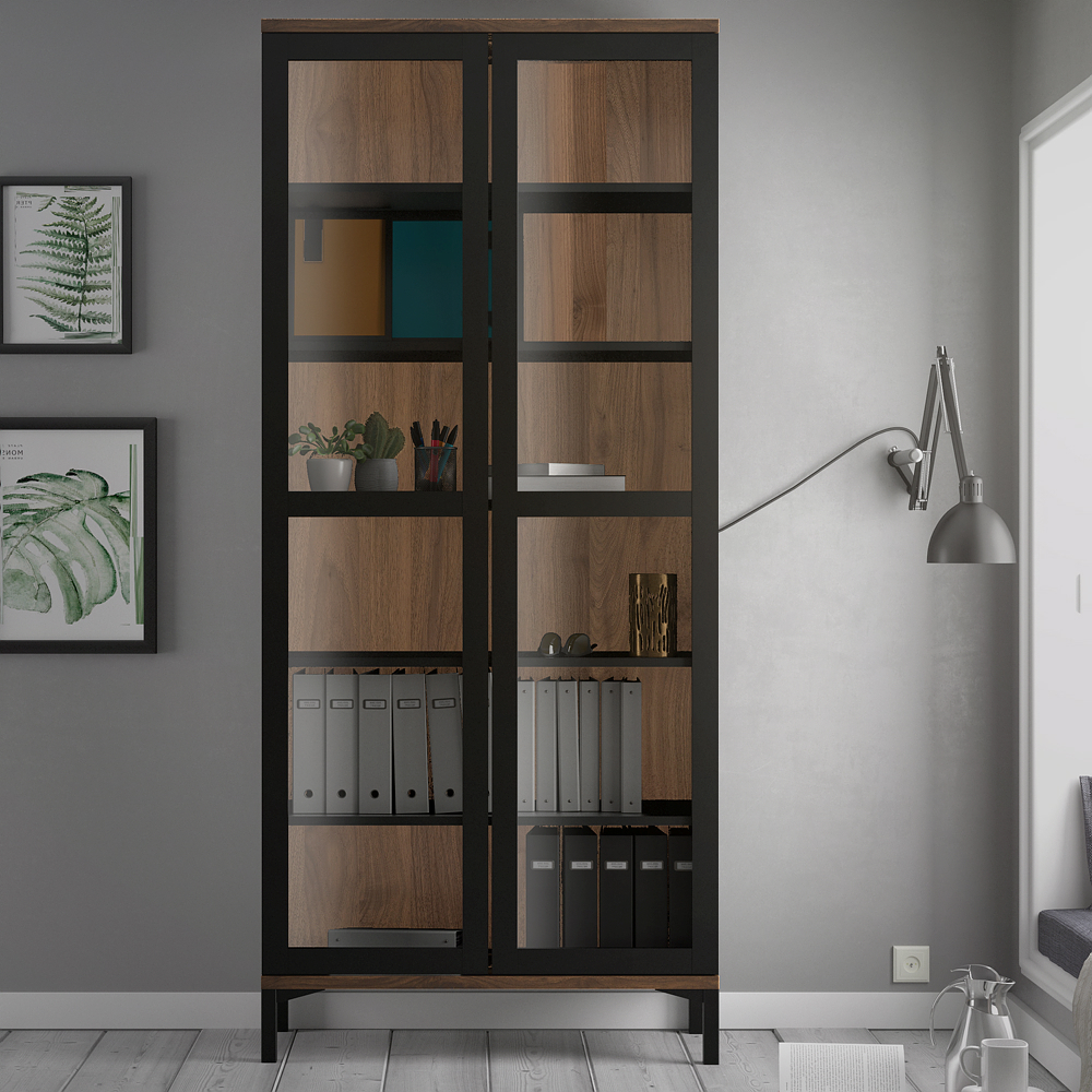 Roomers Glazed Display Cabinet 2 Doors In Black And Walnut With Dark Brown Tv Cabinets With 2 Sliding Doors And Drawer (View 18 of 20)