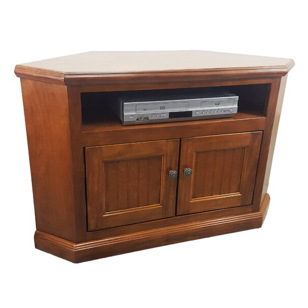 """Rosalind Wheeler Berkhamstead Solid Wood Corner Tv Stand Throughout Corner Tv Stands For Tvs Up To 48"""" Mahogany (View 3 of 20)"""