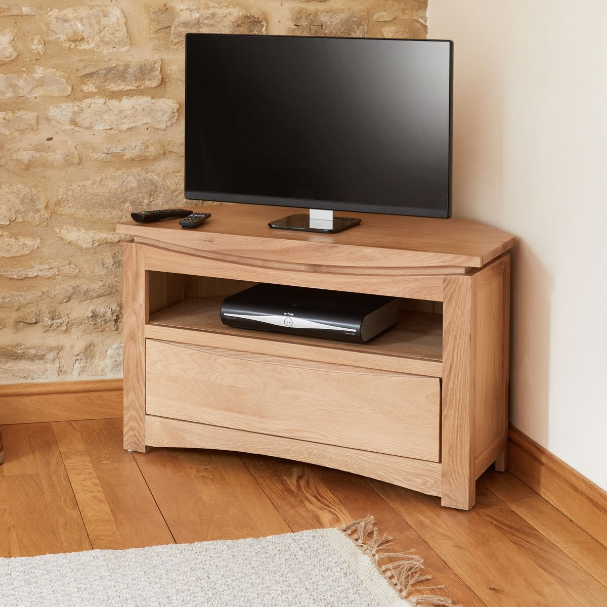 Roscoe Contemporary Oak Corner Television Cabinet Was £360 With Regard To Bromley Extra Wide Oak Tv Stands (View 11 of 20)