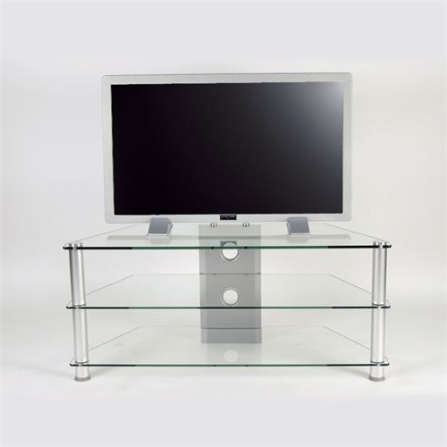 Rta Clear Or Black Glass 3 Shelf Tv Stand For 24 46 Inch Within Space Saving Black Tall Tv Stands With Glass Base (View 11 of 20)