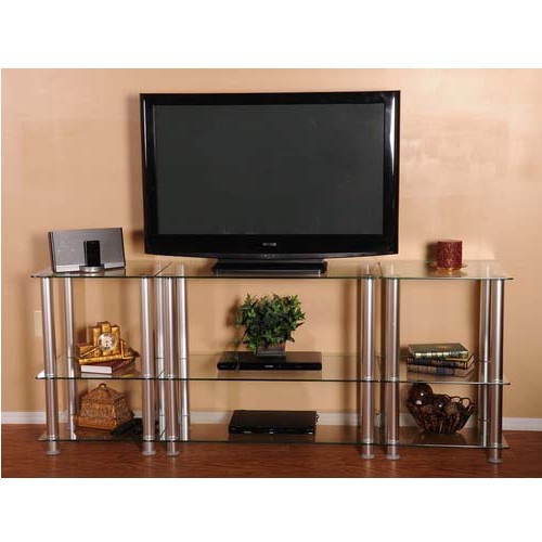 Rta Extra Tall Clear Glass And Aluminum Lcd And Uhd 4k Tv Throughout Space Saving Black Tall Tv Stands With Glass Base (View 10 of 20)