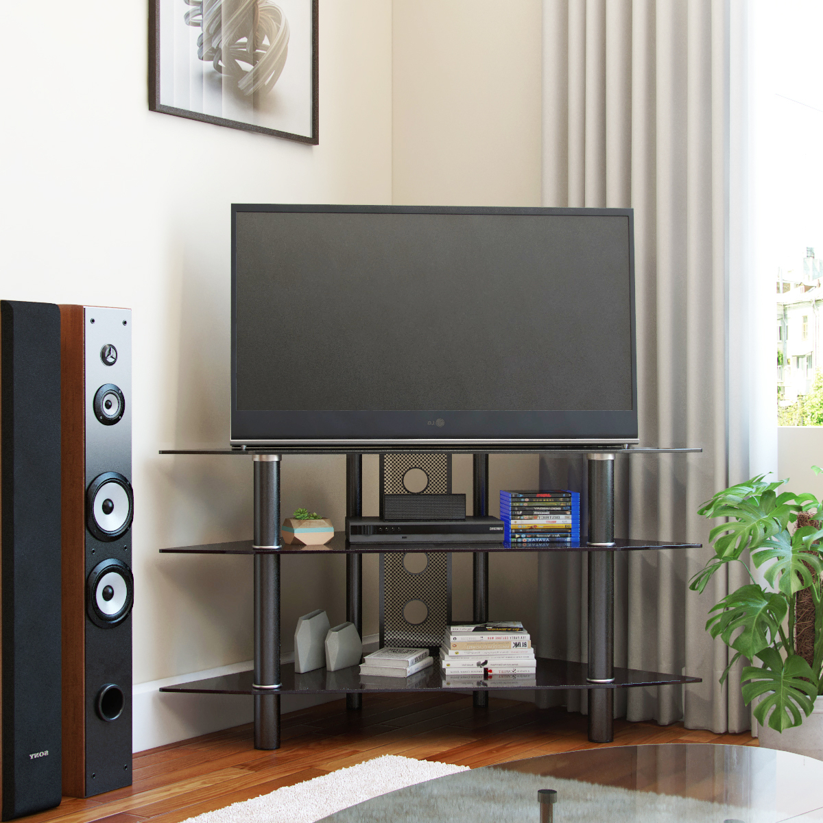 Ruby 44 Inch Corner Glass Tv Stand In Black Inside Tabletop Tv Stands Base With Black Metal Tv Mount (View 7 of 20)