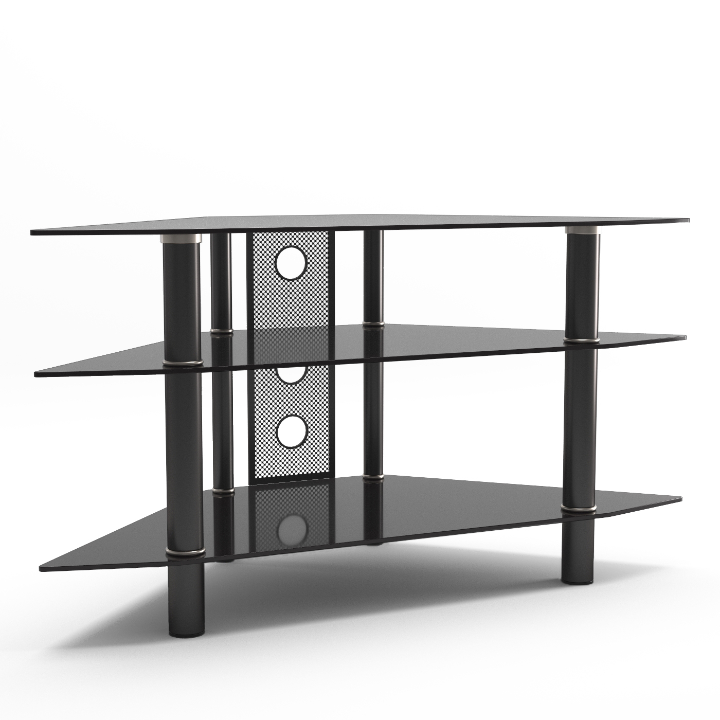 """Ruby 44 Inch Corner Glass Tv Stand In Black With Cable Pertaining To Corner Tv Stands For Tvs Up To 43"""" Black (View 12 of 20)"""