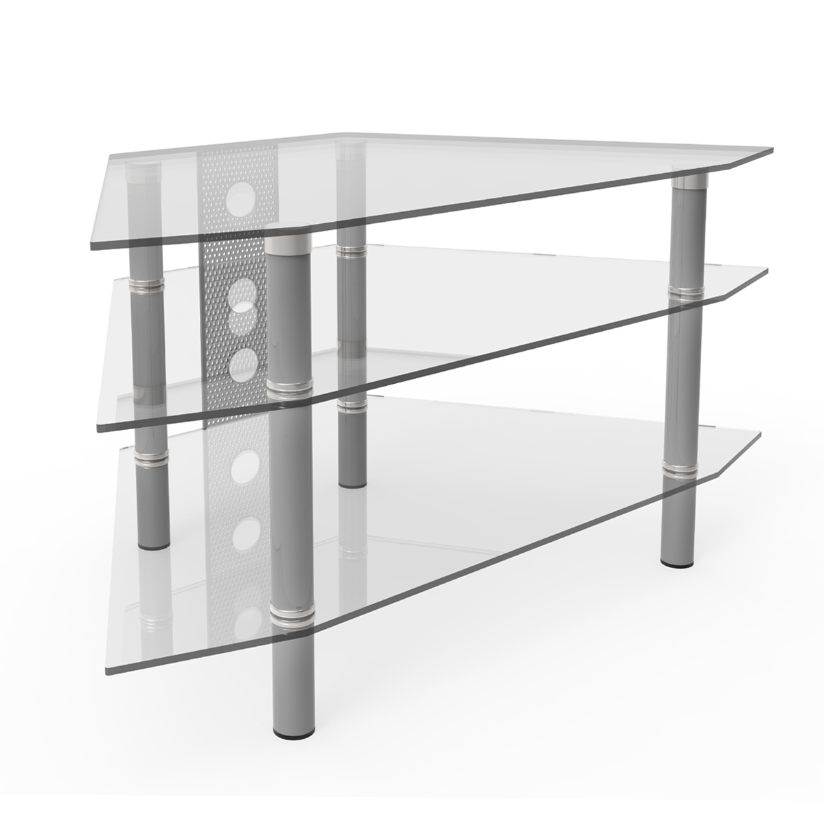 Ruby 44 Inch Corner Glass Tv Stand Silver And Clear Glass Inside Tv Stands With Cable Management (View 13 of 20)