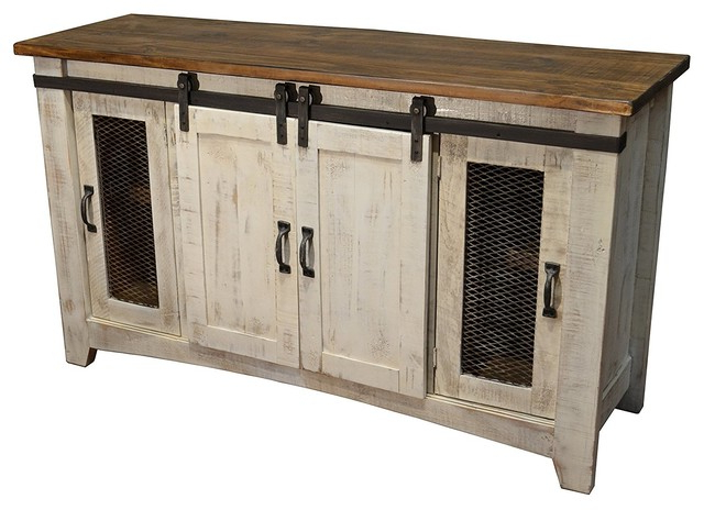 """Rustic 70"""" White Barn Door Media Consol – Rustic With Robinson Rustic Farmhouse Sliding Barn Door Corner Tv Stands (View 13 of 20)"""