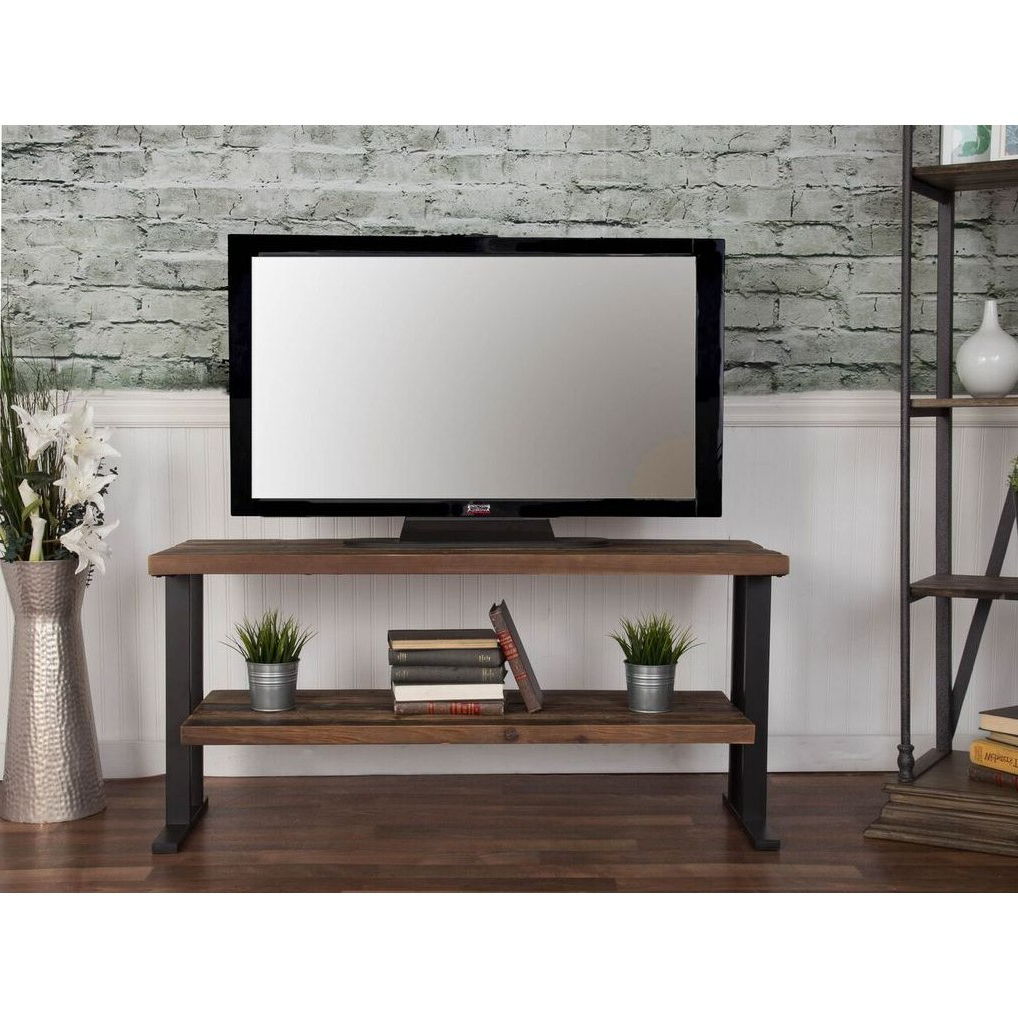 """Rustic Brown Industrial 50 Inch Tv Stand – Brixton   Rc With Regard To Allegra Tv Stands For Tvs Up To 50"""" (View 13 of 20)"""