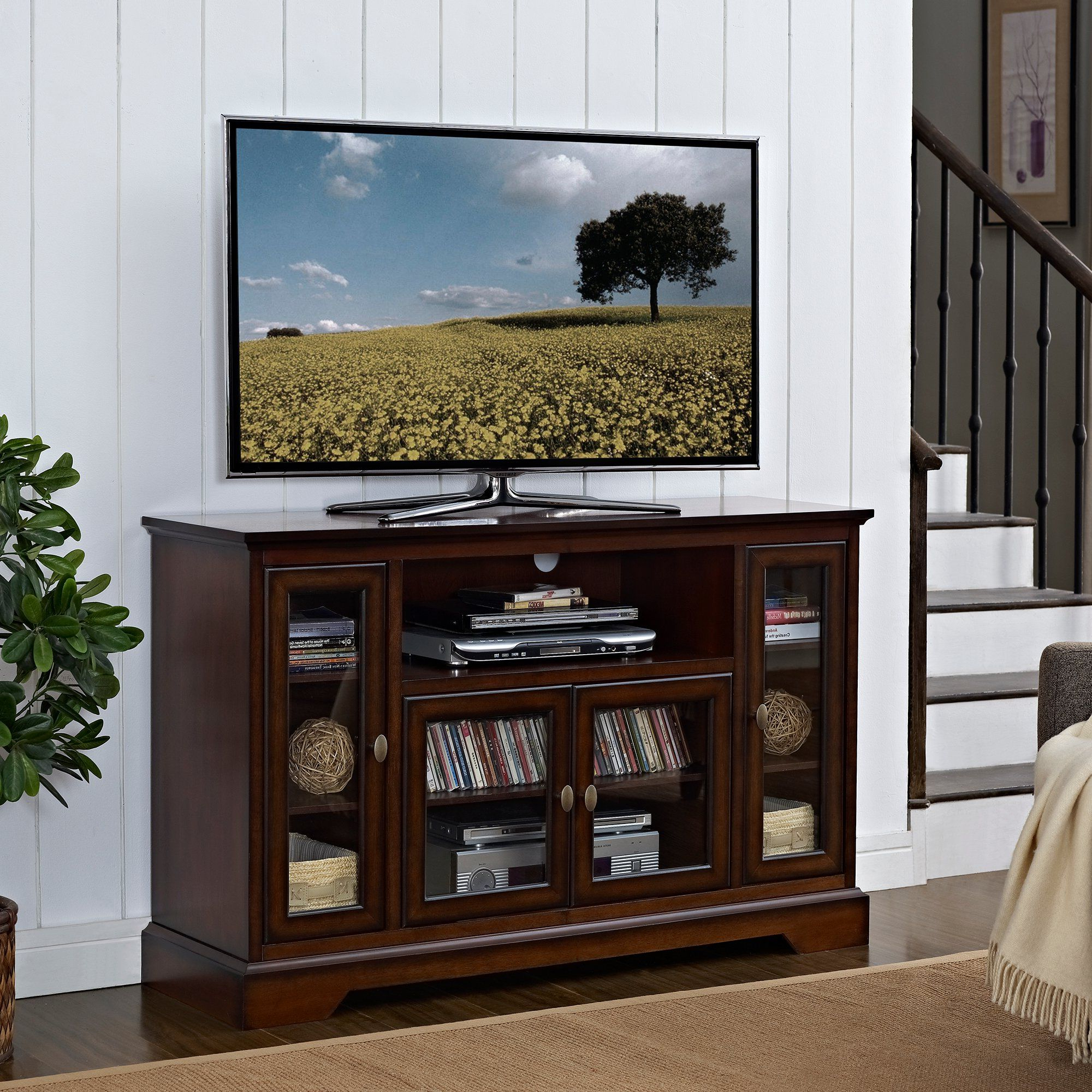 Rustic Brown Wood Tv Stand (52 Inch)   Highboy Tv Stand For Modern Black Floor Glass Tv Stands For Tvs Up To 70 Inch (View 8 of 20)