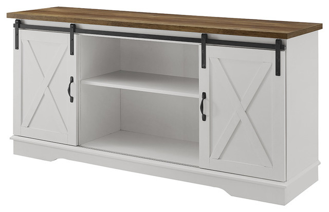 """Rustic Farmhouse 70 Oak Wood Tv Stand With Glass Doors Inside Jaxpety 58"""" Farmhouse Sliding Barn Door Tv Stands In Rustic Gray (View 14 of 20)"""