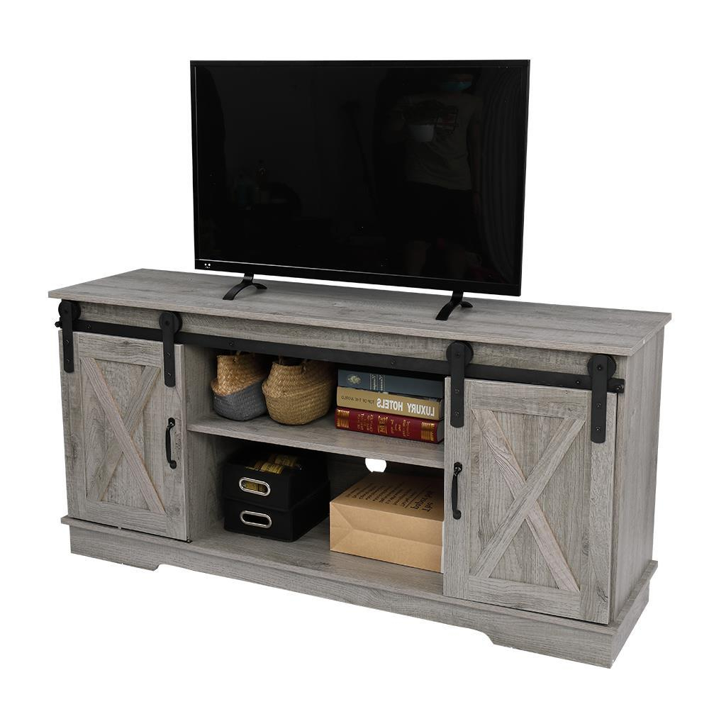 """Rustic Farmhouse Sliding Barn Door Tv Stand Console Table For Modern Farmhouse Style 58"""" Tv Stands With Sliding Barn Door (View 3 of 20)"""