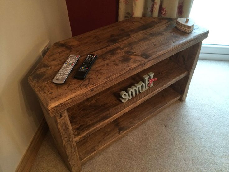 Rustic Farmhouse Style Corner Tv Unit / Stand – Can Make Inside Avalene Rustic Farmhouse Corner Tv Stands (View 8 of 20)