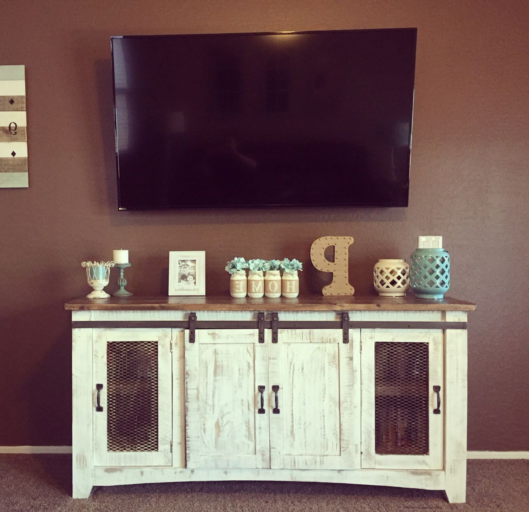 Rustic Farmhouse Style Master Bedroom Ideas (48 | Home With Regard To Rustic Grey Tv Stand Media Console Stands For Living Room Bedroom (View 13 of 20)