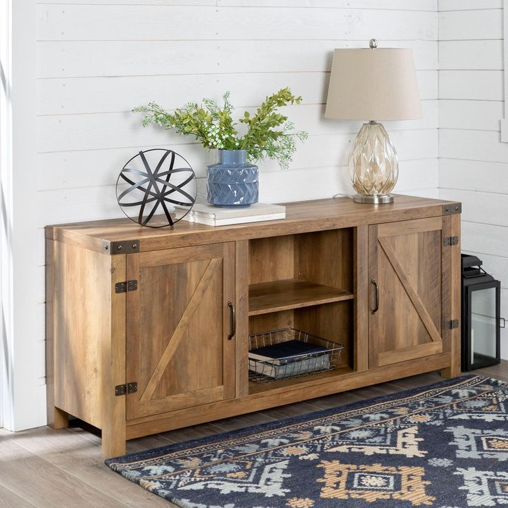 Rustic Oak Farmhouse Tv Stand With Barn Doors (58 Inch Intended For Avalene Rustic Farmhouse Corner Tv Stands (View 11 of 20)