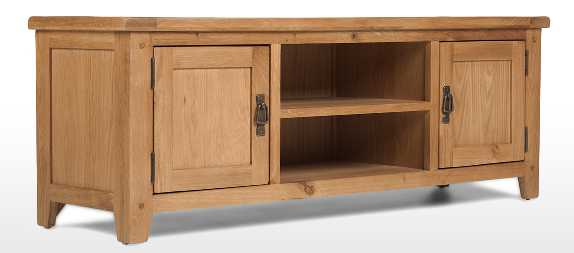 Rustic Oak Plasma Tv Stand | Quercus Living With Regard To Sherbourne Oak Corner Tv Stands (View 3 of 20)