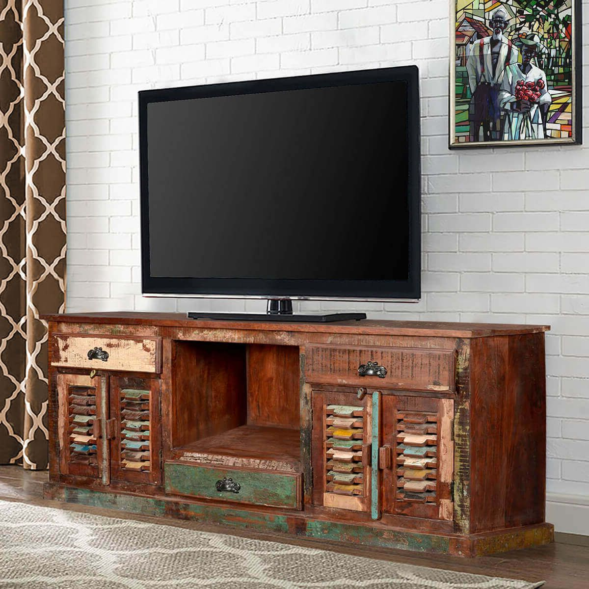 Rustic Reclaimed Wood Large Tv Stand Media Console Inside Rustic Grey Tv Stand Media Console Stands For Living Room Bedroom (View 7 of 20)