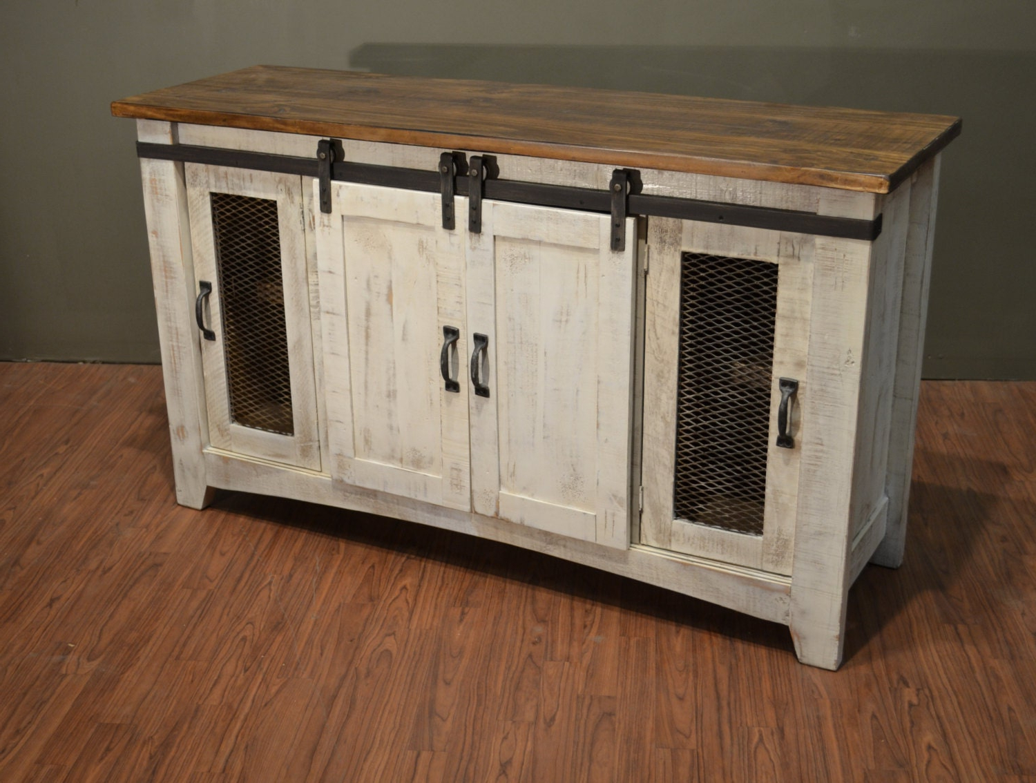 Rustic Solid Reclaimed Wood Tv Stand Media Center / Sideboard Inside Barn Door Wood Tv Stands (View 18 of 20)